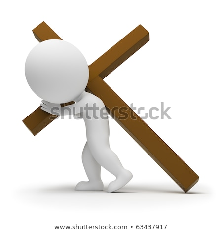 3d small people - bearing cross Stock photo © AnatolyM