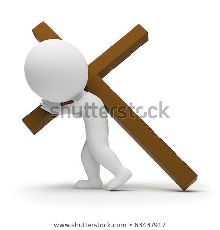 3d small people   bearing cross stock photo © anatolym