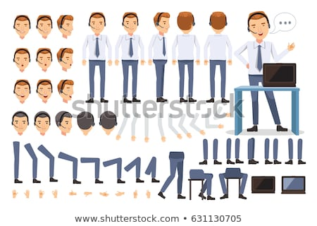 Caucasian businessman standing with arms at sides side view Stock photo © dgilder