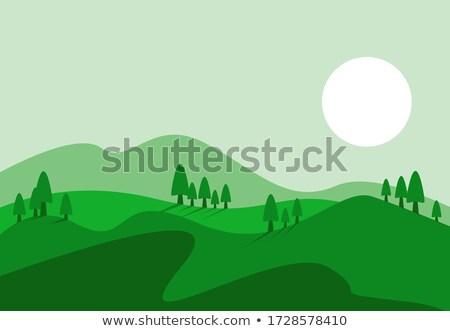 zöld · domb · búza · kék · ég · fű · nap - stock fotó © c-foto