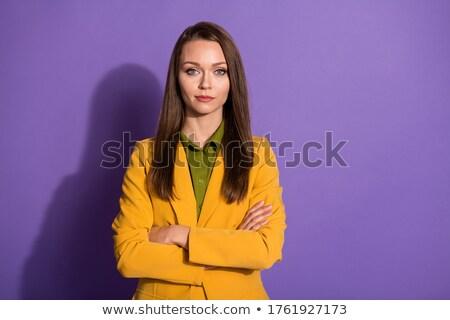 Puce brunette dame jaune costume femme Photo stock © majdansky
