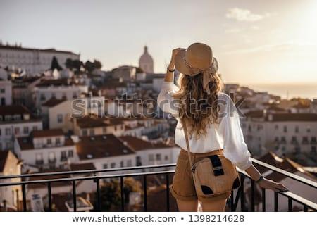 Femeie balcon luxos hotel Imagine de stoc © dash
