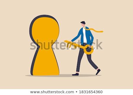 leadership   golden key is inserted into the keyhole stock photo © tashatuvango