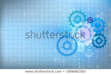 Communication Systems on the Cogwheels. Blueprint Style. Stock photo © tashatuvango