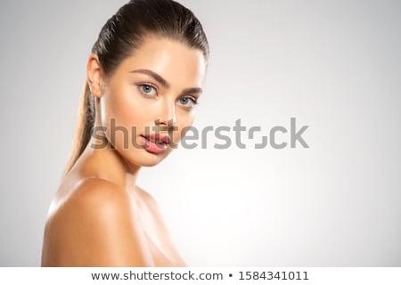 belo · cara · ombros · isolado · branco · mão - foto stock © deandrobot