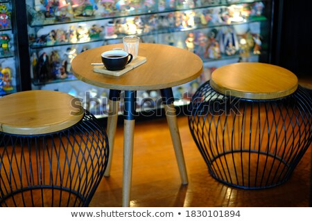 Hot espresso houten tafel voorraad foto Stockfoto © nalinratphi