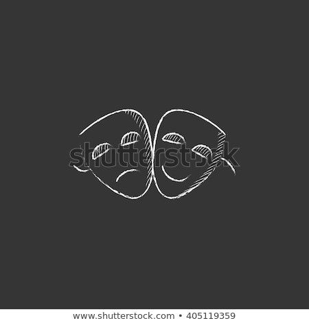 Kettő színpadi maszkok ikon rajzolt kréta Stock fotó © RAStudio
