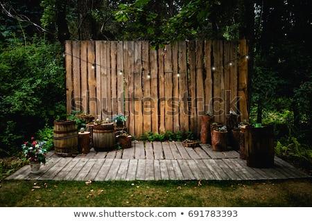 Fából készült lámpa díszített kert stock fotó Stock fotó © punsayaporn