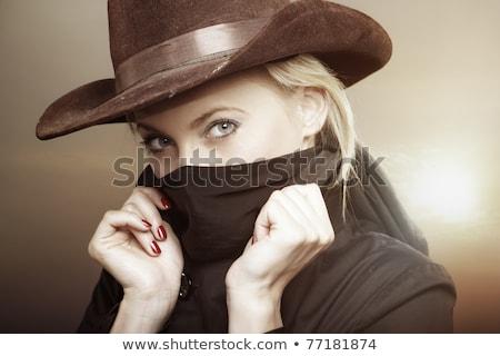 привлекательный ковбойской шляпе изолированный белый счастливым Сток-фото © feverpitch
