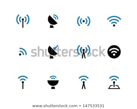 Radio segnale blu vettore icona design Foto d'archivio © rizwanali3d
