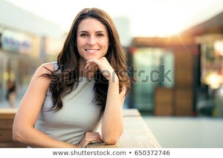 Közelkép szépség portré barna hajú nő vonzó Stock fotó © NeonShot
