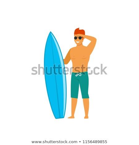 Kadın sörfçü plaj izlerken sörf bekleme Stok fotoğraf © cboswell