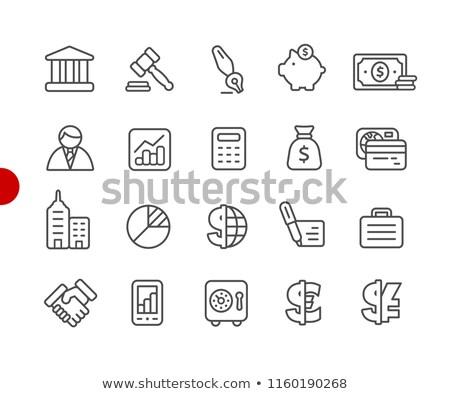 zakenman · wijzend · cirkeldiagram · lijn · icon · web - stockfoto © RAStudio