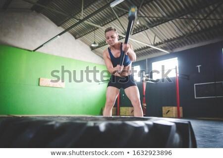 Aantrekkelijk brunette vrouw slee hamer mooie Stockfoto © Aikon