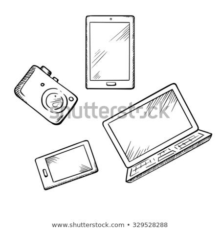 Pantalla táctil tableta boceto icono vector aislado Foto stock © RAStudio