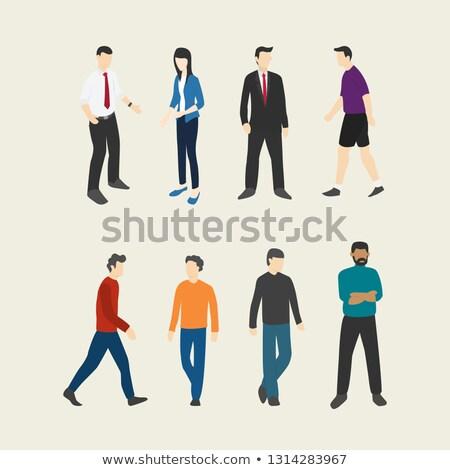 Huit filles pas visages blanche visage Photo stock © bluering