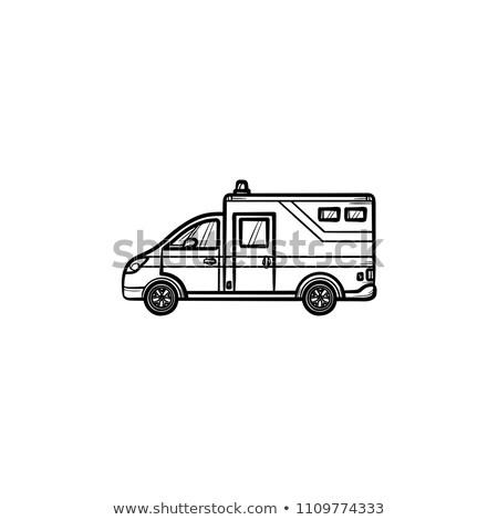 Pogotowia samochodu szkic ikona wektora odizolowany Zdjęcia stock © RAStudio