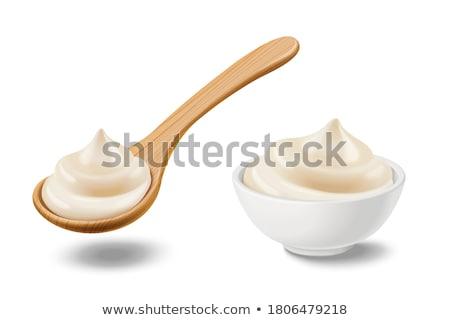 Foto stock: Mayonesa · alimentos · fondo · limón · cocina · tazón