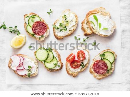 Kanapkę chleba świeże ser oliwek Zdjęcia stock © Digifoodstock