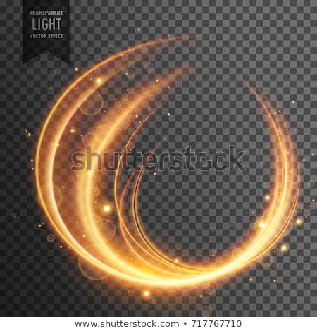golden curvy transparent light effect with sparkles Stock photo © SArts