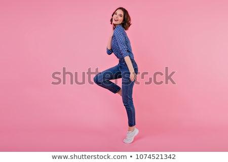 Töprengő sportos lány gyönyörű másfelé néz izolált Stock fotó © LightFieldStudios
