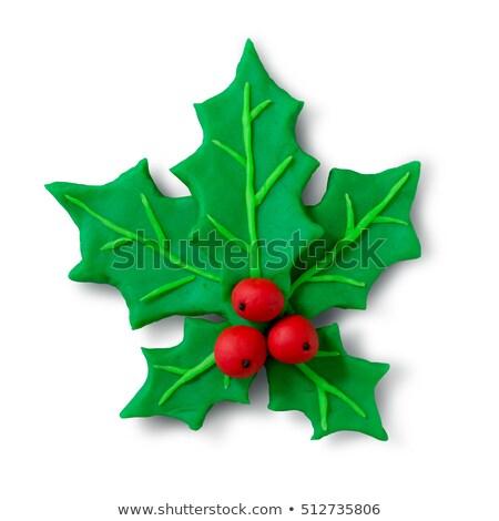 Hand made plasticine figure of Christmas Holly Stock photo © Sonya_illustrations