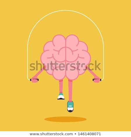 agy · képzés · súlyzók · elme · edzés · vektor - stock fotó © popaukropa