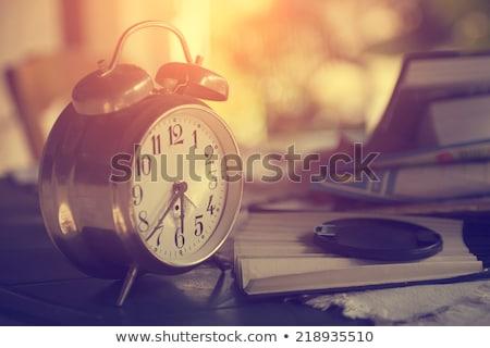 çalar saat eski kitaplar raf sabah eğitim Stok fotoğraf © stevanovicigor