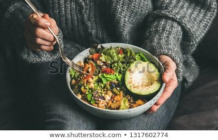 świeże Sałatka awokado jaj ser pleśniowy biały Zdjęcia stock © grafvision