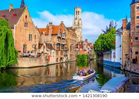 Oude binnenstad regio België kerk Blauw reizen Stockfoto © benkrut
