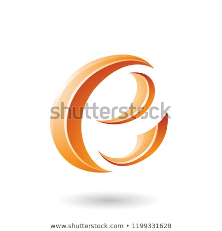 Orange Glossy Crescent Shape Letter E Vector Illustration Stock photo © cidepix