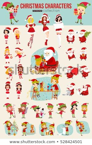 Karácsonyi üdvözlet manó piros fa illusztráció háttér Stock fotó © colematt