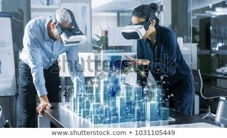 Kobieta faktyczny rzeczywistość zestawu okulary 3d technologii Zdjęcia stock © dolgachov