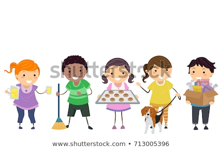 limonádé · áll · gyerekek · elad · lány · gyermek - stock fotó © lenm