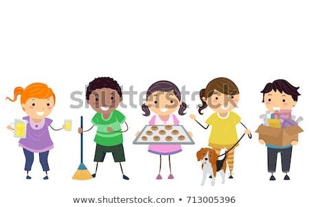 Stickman Kids Earn Money Summer Illustration Stock photo © lenm