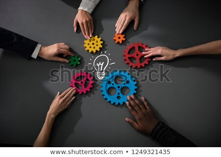 équipe commerciale connecter pièces engins construire nouvelle Photo stock © alphaspirit