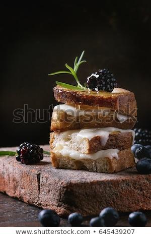 サンドイッチ ヤギ乳チーズ ブルーベリー オープン 朝食 ストックフォト © Melnyk