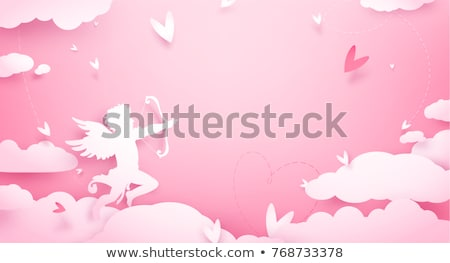 Valentine background with cupid and hearts Stock photo © Artspace