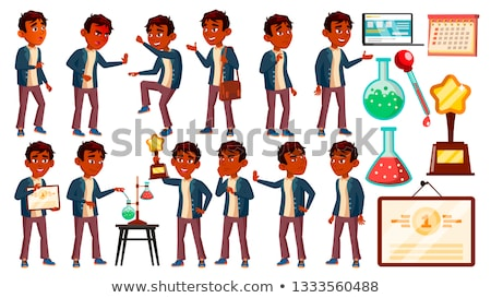 Indian Boy Schoolboy Kid Poses Set Vector. High School Child. Child Pupil. Subject, Clever, Studying Stock photo © pikepicture