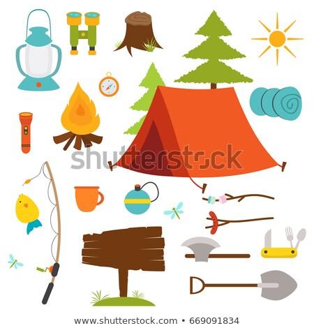 Stock fotó: Kempingezés · föld · sátor · tábortűz · illusztráció · természet