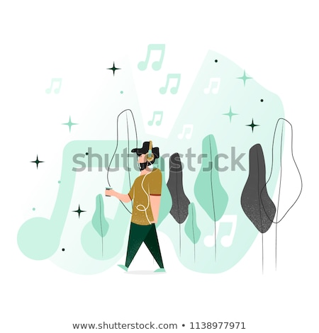 listening to music   flat design style illustration stock photo © decorwithme