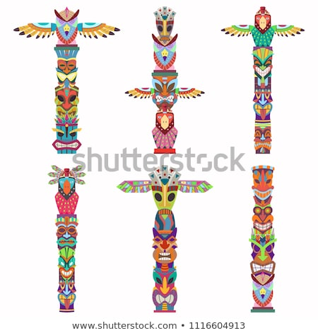 tiki totem cartoon statue isolated vector stock photo © loopall