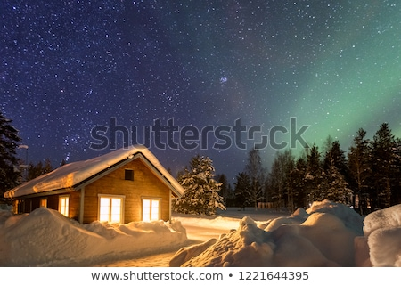 Winter landschap houten huizen vorst oude Stockfoto © Kotenko