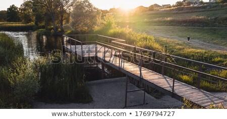 Scena piccolo pier fiume illustrazione panorama Foto d'archivio © colematt