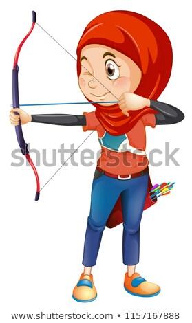 A muslim archery on whiye background Stock photo © colematt