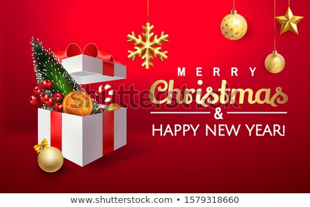 Merry Christmas Lettering, Decorative Fir-Tree Stock photo © robuart