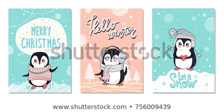 Merry Christmas Hello Winter Let It Snow Penguins Imagine de stoc © robuart