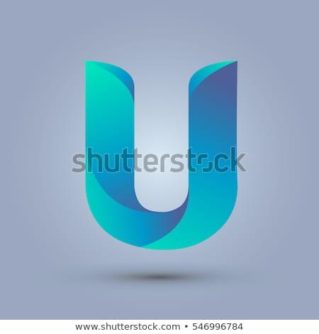 Kék gradiens levél 3D 3d render illusztráció Stock fotó © djmilic