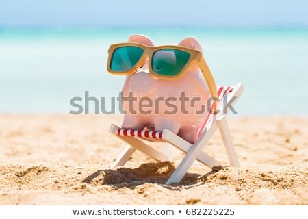 Indossare occhiali da sole deck sedia spiaggia Foto d'archivio © AndreyPopov