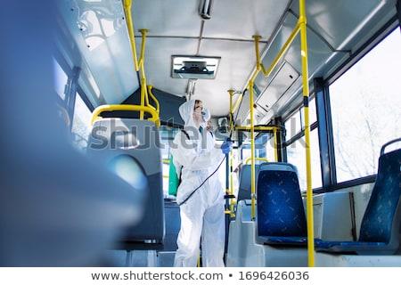 Adam temizlik otobüs durağı karikatür gülen temizleyici Stok fotoğraf © jossdiim